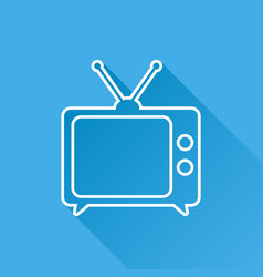 Tv icon in line style isolated on blue background vector