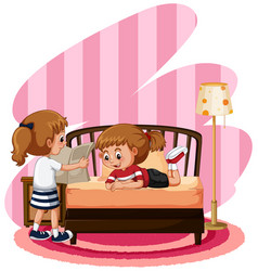 two cute girls in bedroom vector image