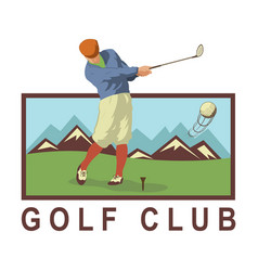 Vintage golf poster with a golf player vector
