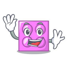 Waving toy brick character cartoon vector