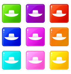 Woman hat icons 9 set vector
