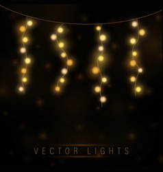 yellow christmas lights isolated realistic vector image