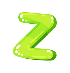 Z green glossy bright english letter kids font vector