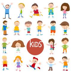 cartoon kid characters big set vector image
