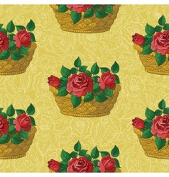 Seamless floral pattern basket with roses vector image