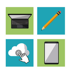 white background with laptop computer pencil and vector image