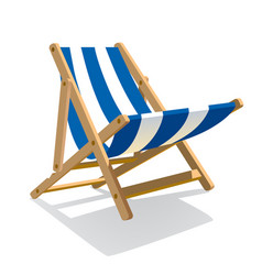 wooden beach blue striped deck chair isolated on vector image vector image