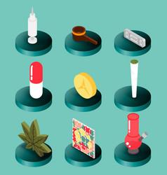 drugs flat isometric icons vector image