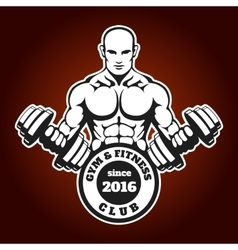 Gym and Fitness emblem with training man vector image
