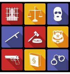 Law and Justice Icons Flat vector image vector image
