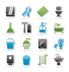 bathroom and hygiene objects icons vector image vector image