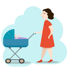 beautiful young mother in red dress walking with vector image vector image