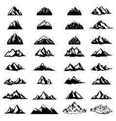 big set of mountain icons isolated on white vector image
