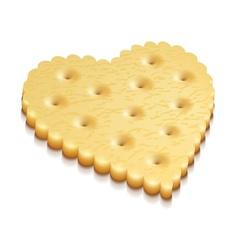 heart crisp cookie snacks vector image vector image