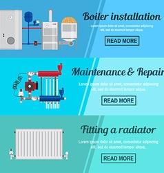 Horizontal banner set with boiler Installation vector image