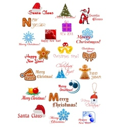 Large set with Christmas ornaments vector image