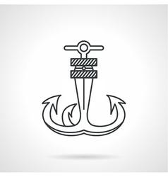 Anchor black line icon vector image vector image