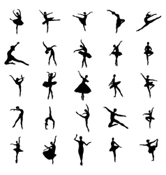 Ballerina silhouettes set vector image