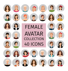 Female avatar collection icons set vector