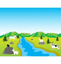 Field with animal vector image
