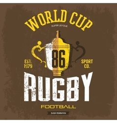 Goblet or trophy cup for american football rugby vector image