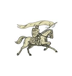 Knight Riding Horse Shield Lance Flag Drawing vector image vector image