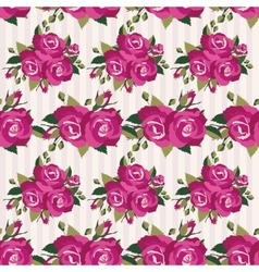 Pink pattern with roses inflorescence vector image
