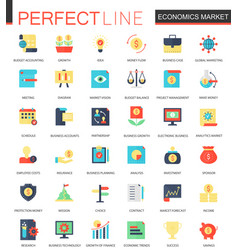 set of flat economics market icons vector image vector image