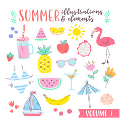 summer design with fruits tropical and beach vector image vector image