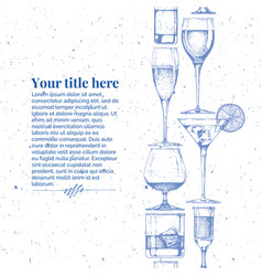 template with glasses goblets vector image