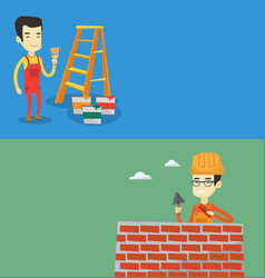 two construction banners with space for text vector image vector image