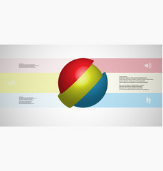 3d infographic template with ball askew sliced to vector image
