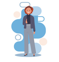 A standing business woman holds out an open hand vector