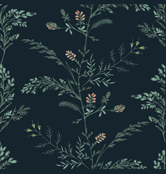 abstract floral seamless pattern on dark vector image