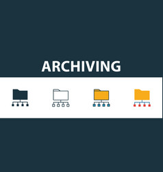 Archiving icon set four simple symbols in vector