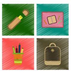 assembly flat shading style icons education school vector image