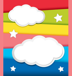 background design with clouds and stars vector image