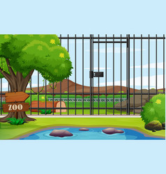 Background scene zoo park with cage vector