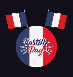 Bastille day celebration card with flags vector
