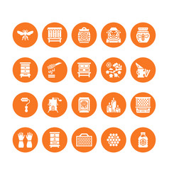 Beekeeping apiculture flat glyph icons equipment vector