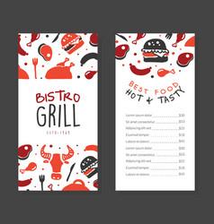 bistro gril menu template design barbecue house vector image