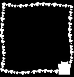 black and white retro border made of hearts with vector image