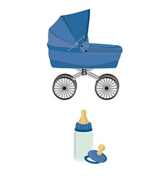 blue bacarriage bottle and pacifier vector image