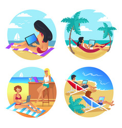 business summer beach set vector image