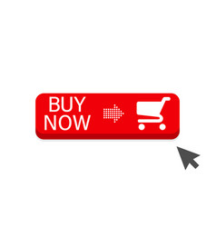 buy now red button with cursor in flat design vector image