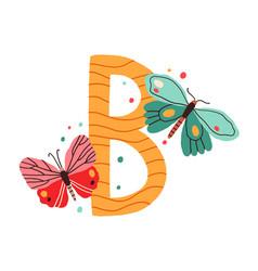 Capital letter b childish english alphabet with vector