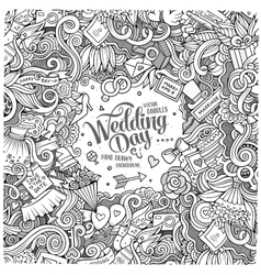 Cartoon cute doodles wedding frame vector image