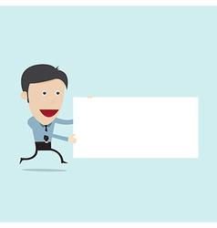 cartoon holding blank board vector image