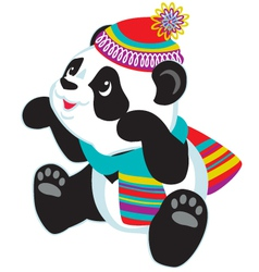 cartoon panda wearing scarf vector image