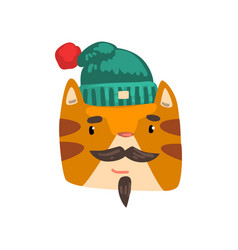 cat wearing knitted winter hat animal portrait vector image